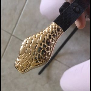 Accessories - Gold snake tipped belt