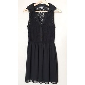 Speechless Dresses & Skirts - Black Lace Button Collared Dress