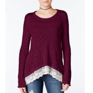 Hippie Rose Sweaters - FINAL PRICE DROP. Lace Trim Asymmetrical Sweater