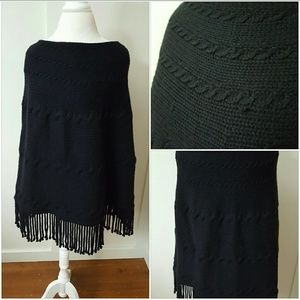 Lands' End Sweaters - Lands End OSFM Black Knitted Poncho