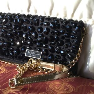 Handbags - Sequined evening leather bag.