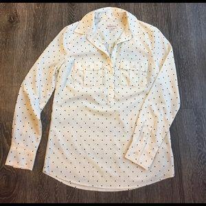 Collar Polka Dot Long Sleeve Blouse
