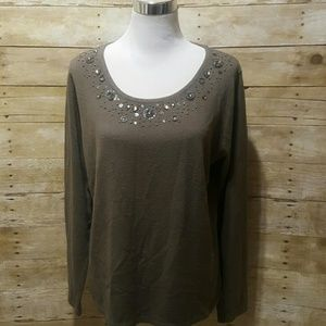 Sweaters - Brown embellished sweater
