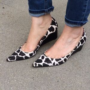 Wild Pair Shoes - Giraffe-Print Pointy-Toe Leather Shoes