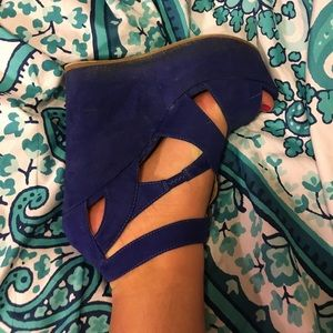 JustFab Shoes - Royal blue wedges