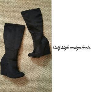 Shoes - Calf high wedge boots