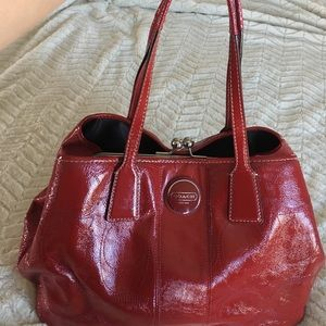 Coach Handbags - Red Coach patented leather purse