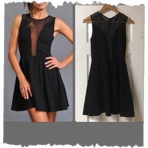 For Love & Lemons Black Lulu Dress W/Sheer Panels