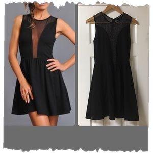 For Love & Lemons Black Lulu Dress W/Sheer Panels