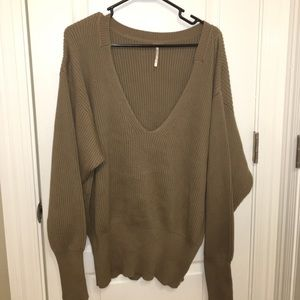 Taupe Free People V-Neck Sweater