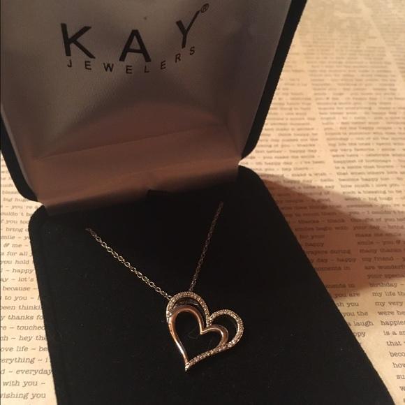 Kay Jewelers Jewelry Kay Jeweler Diamond Double Heart Necklace Poshmark