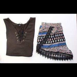 Boutique Pants - Blue and black Shorts outfit bundle