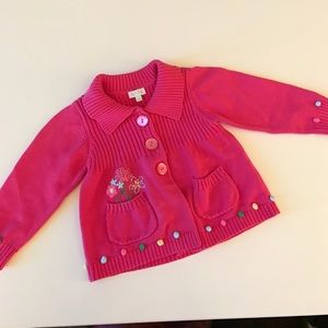 Le Top Other - Le Top Hot Pink Sweater 24 mos w/ cute flowers