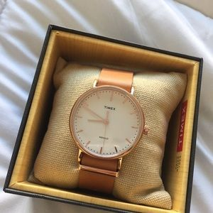 Timex Weekender Leather Rose Gold Watch *NEW*