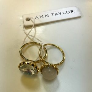 Ann Taylor Jewelry - Ann Taylor 2 gold rhinestone rings NWT SIZE 8