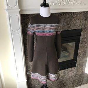 Alaia Dresses & Skirts - Alaia Brown Knit Fit & Flare Colorful Mosaic Dress