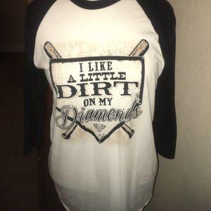 atx mafia Tops - Raglan sleeve baseball T with rhinestone accents