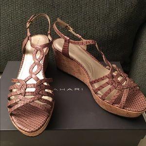 Tahari Shoes - Tahari Tan Leather Croc Embossed T-strap Wedges