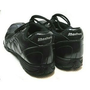 Skechers Shoes - SKECHERS BLACK LEATHER & NYLON SNEAKERS