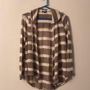 Freshman Sweaters - Beige and cream hooded cardigan