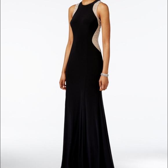 Xscape Dresses | Black Beaded Illusion Prom Dress | Poshmark