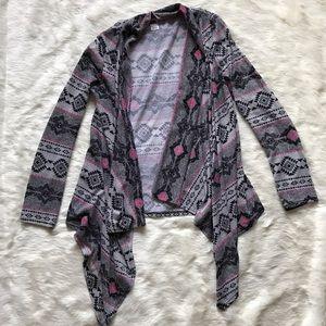 BONGO Sweaters - Aztec Print Drap Cardigan