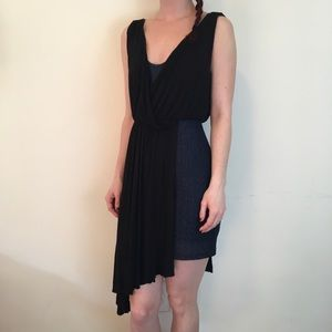 FREE PEOPLE Blue Asymmetrical Sleeveless Dress