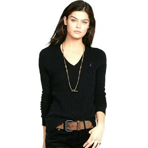 Ralph Lauren Tops - RALPH LAUREN BLACK BLENDED COTTON V NECK TOP