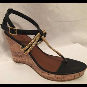 Deb Shoes - Deb black and gold wedges