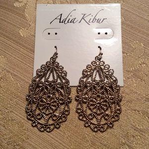 Adia Kibur Jewelry - Gold tone filigree earrings