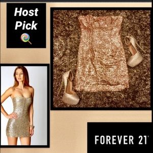 FOREVER 21 Strapless Gold Sequence Dress