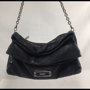 DKNY Handbags - DKNY Black Soft Foldover Handbag