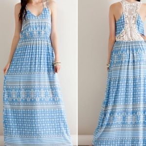 Price drop‼️Blue tribal print maxi dress.