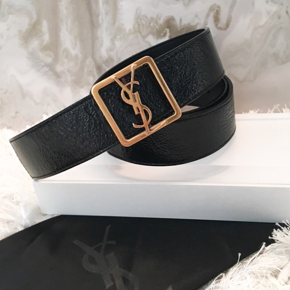 141b9bc0dd35 Saint Laurent YSL Gold Logo Buckle Black Belt Sz S.  M 58c078c34e8d176139040ada