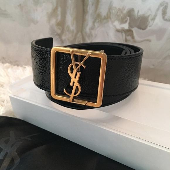 612ac77c574a Saint Laurent YSL Gold Logo Buckle Black Belt Sz S. Saint Laurent.  M 58c078c34e8d176139040ada. M 58c078c44e8d176139040adb.  M 58be2528bcd4a73f4702a58c