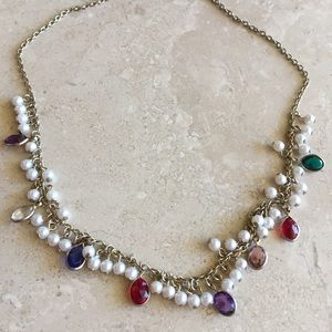 Authentic Original Vintage Style Jewelry - Dainty Pearl n Jewel Necklace