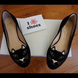 Charlotte Olympia Shoes - Black/Gold Kitty Flats Charlotte Olympia