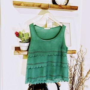 Green Scalloped Tank