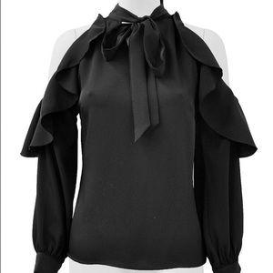 Gracia Tops - Black cold shoulder bow collar blouse MAKE A OFFER