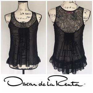 Oscar de la Renta Tops - Oscar de la Renta black top with lace trim