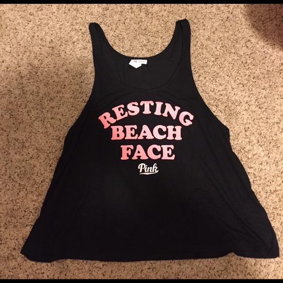 d30bc17e74 PINK Victoria's Secret Tops | Vs Pink Resting Beach Face Tank Top ...