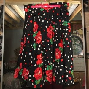 Vintage rose print polkadot circle skirt