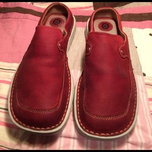 Born Shoes - BORN B.O.C.RED LEATHER SLIDES,BOAT,DOCK SHOES SZ-8