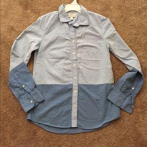 J. Crew•Two Tone Denim Button Down Shirt•Size 4