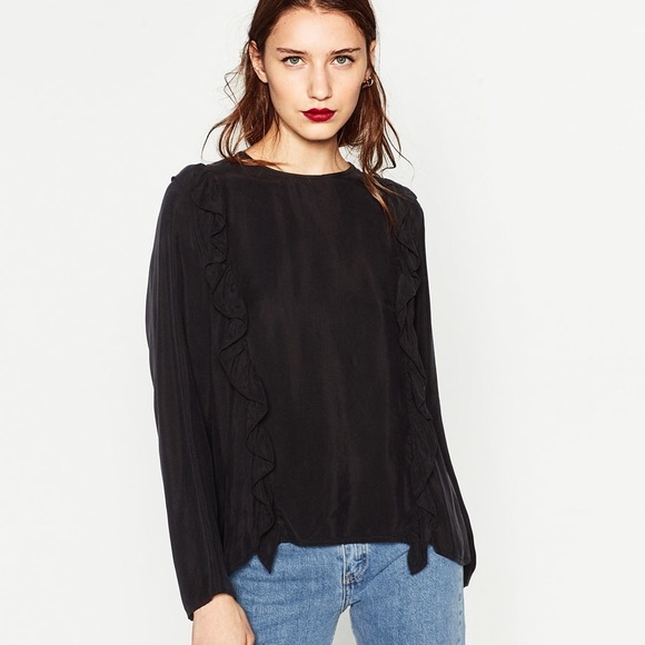 b2efdf69cfa49 NWT Zara Ruffle Black Premium Collection Blouse