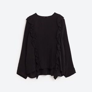 3b38e5a6aa5c9 Zara Tops - NWT Zara Ruffle Black Premium Collection Blouse