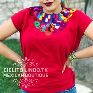 New Handmade Embroidered Ethnic Top Red & Colorful