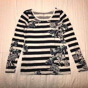 Loft Navy & White Striped Floral Long Sleeve Tee S