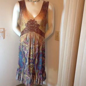 ONE WORLD Dresses & Skirts - ONE WORLD BROWN AND TAN WITH MULTI-COLOR DRESS