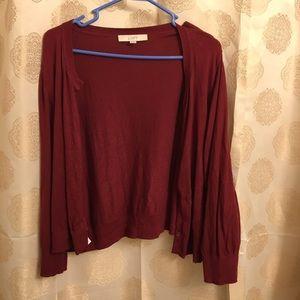 Loft maroon crop cardigan XL